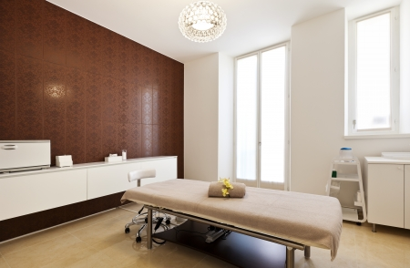window treatments: Interior of massage room in a spa salon