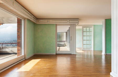Interior, empty apartment in style classic, large room with panoramic windows