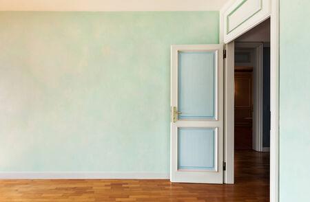 Interior, empty apartment in style classic, room with door open photo