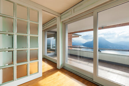 balcony window: Interior, empty apartment in style classic, large windows overlooking the lake