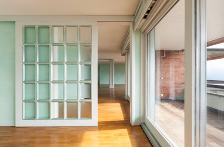 glass door: Interior, apartment in style classic, large windows