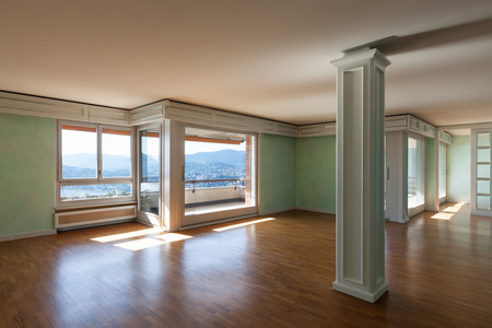 Interior, empty apartment in style classic, large room Stock Photo