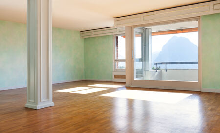 Interior, empty apartment classic, large room with windows Stock Photo