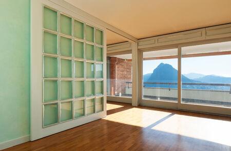 Interior, apartment in style classic, large windows  photo
