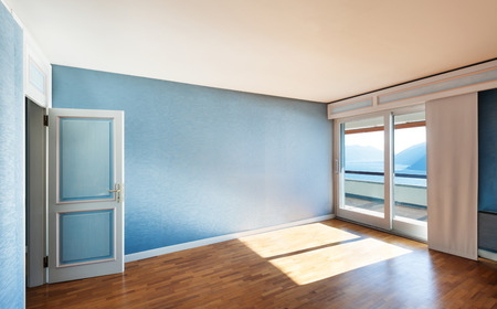 Interior classic apartment, blue sunny room photo