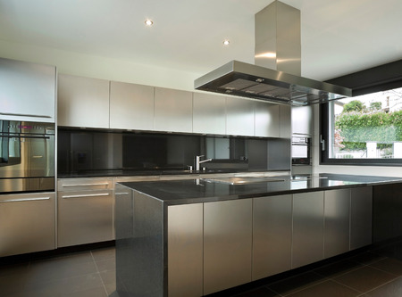 estufa: interior de la casa moderna, cocina Foto de archivo