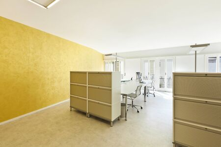 office cabinet: modern office interior design, large room