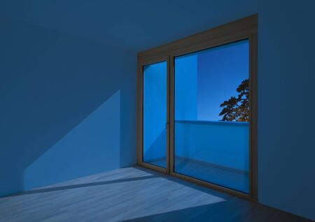 Empty Room With Window By Night Stock Photo