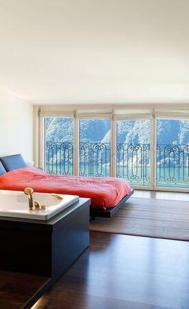 luxury apartment: interior luxury apartment, beautiful bedroom with jacuzzi
