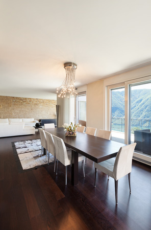 dining table and chairs: interior luxury apartment, beautiful dining room Stock Photo