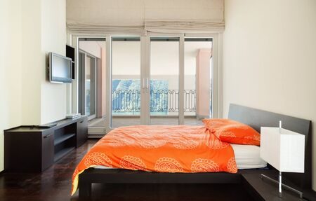 interior luxury apartment, bedroom, single bed  photo