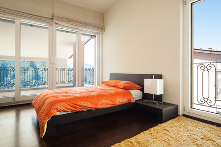 interior luxury apartment, bedroom with single bed  photo