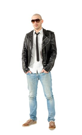 portrait of man with black leather jacket, isolated on white background photo