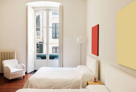 hotel bedroom: beautiful interior of hotel room, view bedroom
