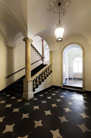 ancient staircase of a classic historic building, interior photo