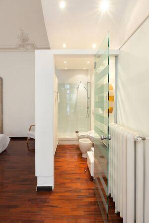 Interior hotel room, modern bathroom photo