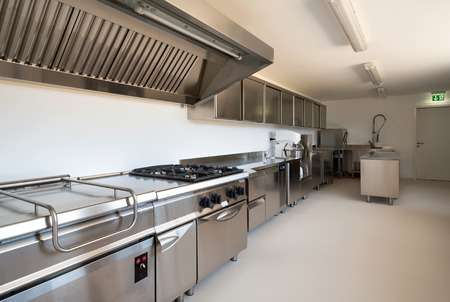 stainless steel kitchen: Professional kitchen in modern building Stock Photo