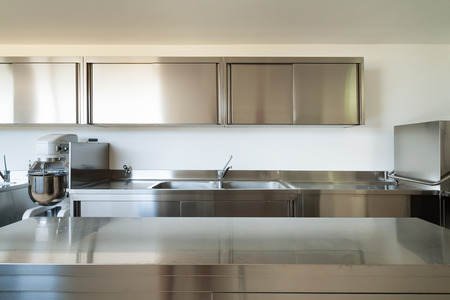 Professional kitchen, view counter  in steel  photo