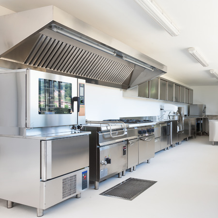 oven: Professional kitchen in modern building Stock Photo