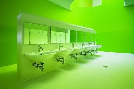 new architecture, green public bathroom Stock Photo