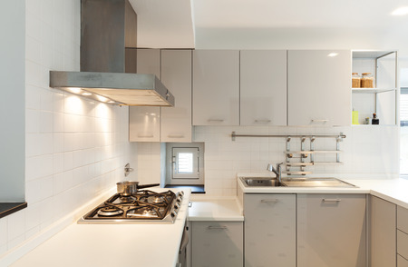 kitchen cabinet: Interior, small apartment, white kitchen view