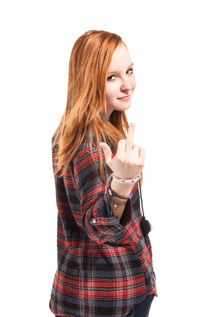 arrogant teen: portrait of cute girl, isolated on white background