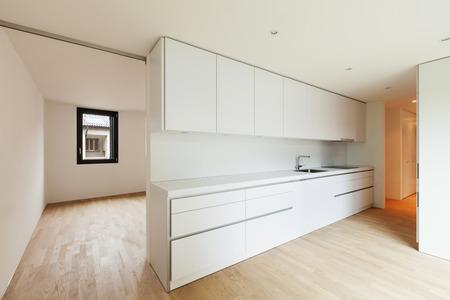 home confort: interior new house, modern white kitchen