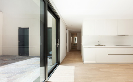 interior new house, modern white kitchen photo