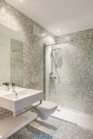 Interior new house, view modern bathroom photo