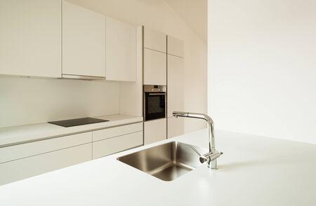 interior new house, modern white kitchen  photo