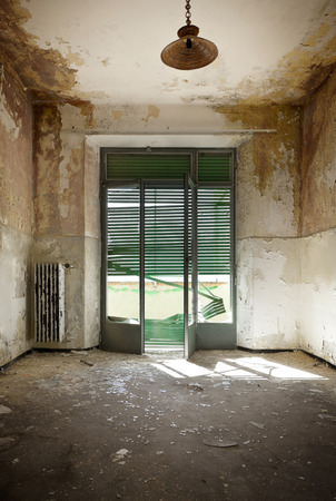 abandoned house window: empty room, interior of a old house