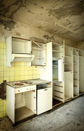 Old Kitchen Destroyed Interior Abandoned House Stock Photo