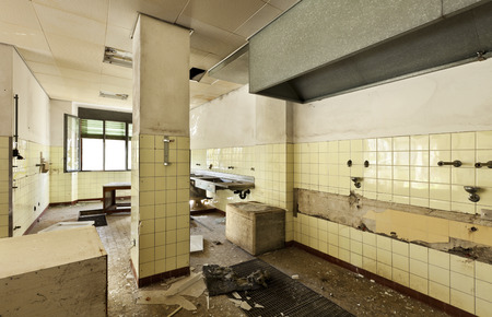 destroyed: old kitchen destroyed, interior abandoned house  Stock Photo