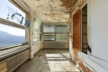broken house: old abandoned house, interior, windows