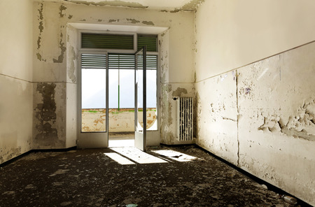 humidity: abandoned building, empty room with window