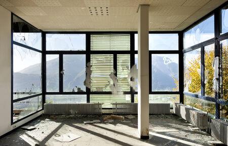 abandoned house window: abandoned building, empty room with window