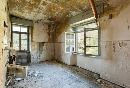 abandoned house window: old destroyed building, room with window