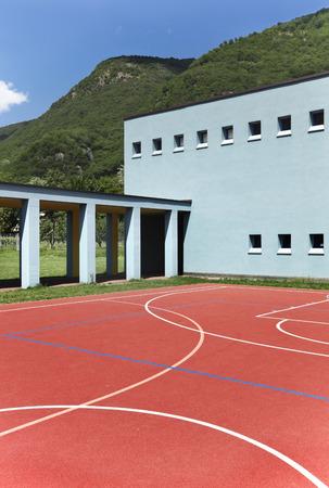 school sports: public school, building from the outside