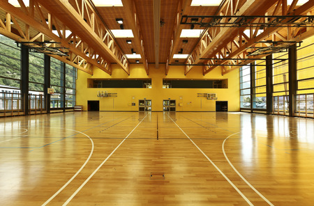 gymnasium: public school, building from indoor