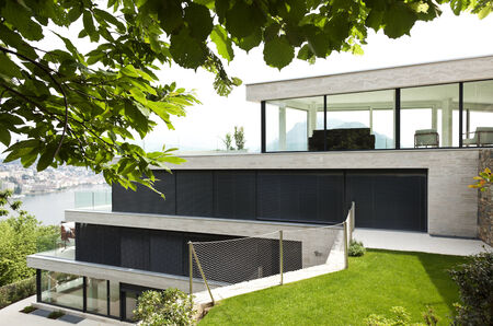 beautiful modern house, view from garden photo