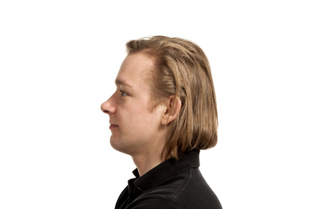 face side: portrait of man, side view, isolated on white background
