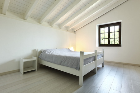 attic: architecture, bedroom in a attic Stock Photo