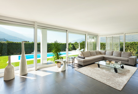 living room window: Modern villa, interior, beautiful living room