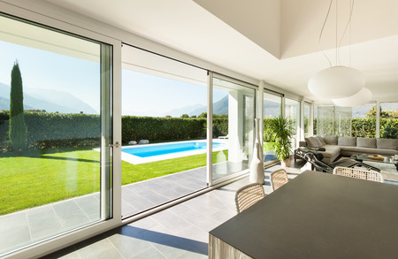dining table and chairs: Modern villa, interior, dining table view