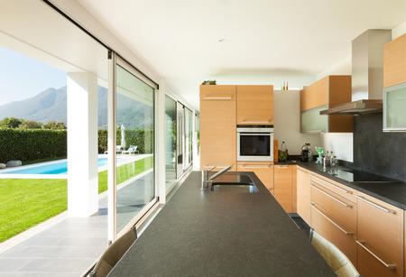 blue white kitchen: Modern villa, interior, beautiful kitchen