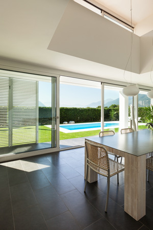 Modern villa, interior, dining table view photo