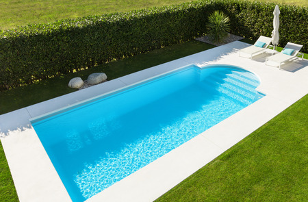 Modern villa with pool; top view 写真素材