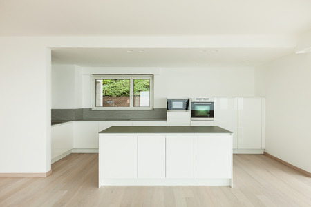 wide open spaces: beautiful new apartment, interior, modern kitchen Stock Photo