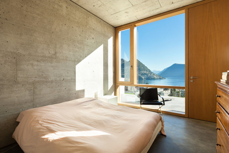 beautiful modern house in cement, interiors, bedroom photo