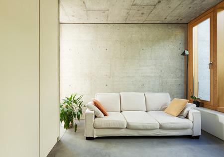 divan: sch�ne, moderne Haus in Zement-, Innenr�ume, Wohnzimmer mit Schlafcouch